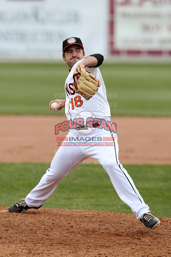 Hagerstown Suns pitcher Nathan Karns #18 delivers a pitch during a game against the Lexington Legends at Municipal Park on April 11, 2012 in Hagerstown, Maryland.  Lexington defeated Hagerstown 3-0.  (Mike Janes/Four Seam Images)