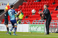 Manager of Doncaster Rovers Darren Ferguson (right) throws the match ball to Joe Jacobson of Wycombe Wanderers (left) during the Sky Bet League 2 match between Doncaster Rovers and Wycombe Wanderers at the Keepmoat Stadium, Doncaster, England on 29 October 2016. Photo by David Horn.
