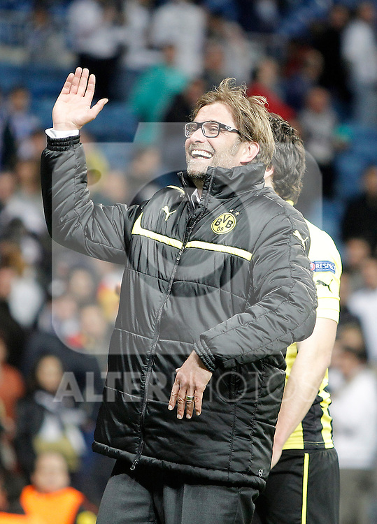 Borussia Dortmund's coach Jürgen Klopp celebrates after UEFA Champions League match. April 30, 2013. (ALTERPHOTOS/Alvaro Hernandez)