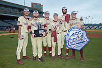 Florida State Seminoles seniors pose for a photo with the ACC Championship trophy following their win over the North Carolina Tar Heels at Louisville Slugger Field on May 28, 2017 in Louisville, Kentucky. The Seminoles defeated the Tar Heels 7-3. (Brian Westerholt/Four Seam Images)