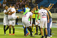 BARRANQUILLA - COLOMBIA ,24-08-2019: Jugadores del Once Caldas celebran su victoria contra Atlético Junior   durante partido por la fecha 8 de la Liga Águila II 2019 jugado en el estadio Metropolitano Roberto Meléndez de la ciudad de Barranquilla . / Players of Once Caldas celebrate their victory agaisnt of Atletico Junior during the  match for the date 8 of the Liga Aguila II 2019 played at Metropolitano Roberto Melendez Satdium in Barranquilla City . Photo: VizzorImage / Alfonso Cervantes / Contribuidor.