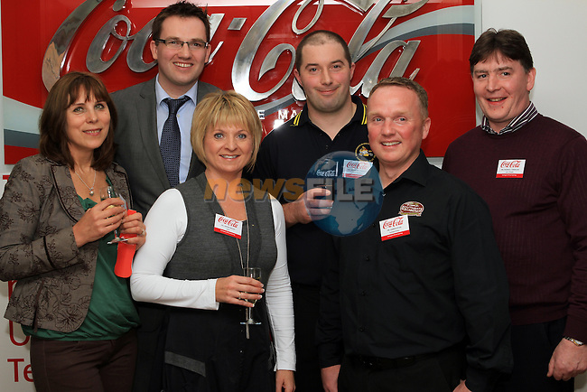 Southgate Traders, Virginia Dineikiene (Florist), Brendan Byrne (Thomas Byrne Auctioneers), Anthony Connor (Connors Butchers), Padraig Loneran (Just a Thought), Darren Ryan (Southgate Barbers) and Denise Walsh (Relish)at the Official Opening of Coca Cola Global Business Services Finance Operation for Europe and Eurasia in Southgate Shopping Centre 28/10/11..(Photo credit should read Jenny Matthews www.newsfile.ie)....This Picture has been sent you under the conditions enclosed by:.Newsfile Ltd..The Studio,.Millmount Abbey,.Drogheda,.Co Meath..Ireland..Tel: +353(0)41-9871240.Fax: +353(0)41-9871260.GSM: +353(0)86-2500958.email: pictures@newsfile.ie.www.newsfile.ie.