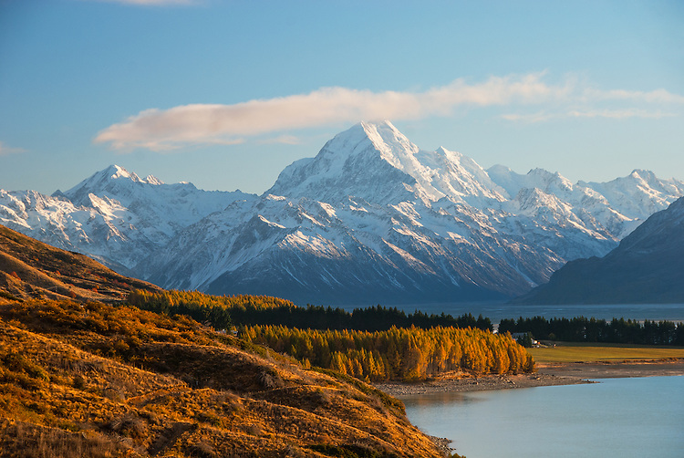 Mount Cook looms large on an Autumn Day in the McKenzie Country, South Island - stock photo, canvas, fine art print