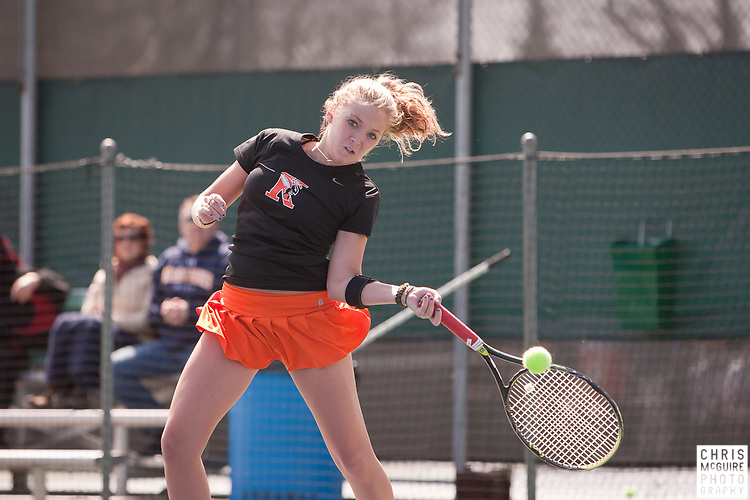 04/23/11 - Kalamazoo, MI:  Kalamazoo College women's tennis vs Coe.  Coe won the match 6-3.  Photo by Chris McGuire.
