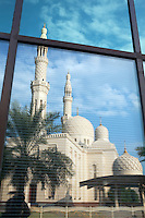 United Arab Emirates, Dubai: Jumeirah Mosque reflected in window