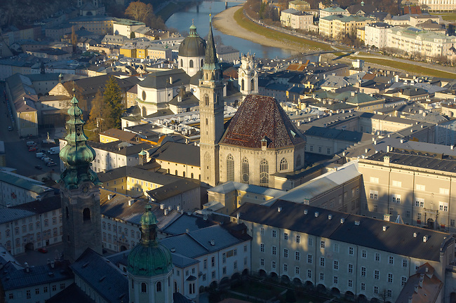 Salzburg view from Castle with Franciscan Church