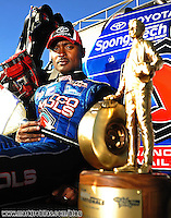 Jul. 26, 2009; Sonoma, CA, USA; NHRA top fuel dragster driver Antron Brown poses for a photo after winning the Fram Autolite Nationals at Infineon Raceway. The win was the third win in a row for Brown. Mandatory Credit: Mark J. Rebilas-US PRESSWIRE