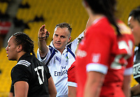 The referee awards a penalty during the 2017 International Women's Rugby Series rugby match between the NZ Black Ferns and Canada at Westpac Stadium in Wellington, New Zealand on Friday, 9 June 2017. Photo: Dave Lintott / lintottphoto.co.nz