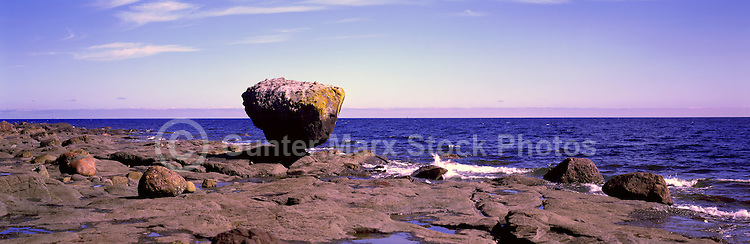 "Haida Gwaii (Queen Charlotte Islands), Northern BC, British Columbia, Canada - ""Balance Rock"" at Low Tide, near Skidegate on Graham Island - Panoramic View"