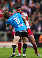 Picture by Alex Whitehead/SWpix.com - 11/05/2018 - Rugby League - Ladbrokes Challenge Cup - Leigh Centurions v Salford Red Devils - Leigh Sports Village, Leigh, England - Leigh's Ryan Bailey is tackled by Salford's Logan Tomkins.