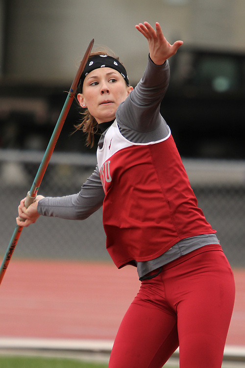Courtney Kirkwood, Washington State sophomore, throws the javelin during the Cougars dual track and field meet with arch-rival Washington at Mooberry Track at Washington State University in Pullman, Washington, on May 1, 2010.
