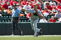 Houston Cougars third baseman Connor Hollis (44) makes a throw to first base during the NCAA Super Regional baseball game against the Texas Longhorns on June 7, 2014 at UFCU Disch–Falk Field in Austin, Texas. The Longhorns are headed to the College World Series after they defeated the Cougars 4-0 in Game 2 of the NCAA Super Regional. (Andrew Woolley/Four Seam Images)