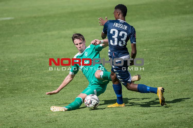 11.01.2019, Bidvest Stadion, Braampark, Johannesburg, RSA, FSP, SV Werder Bremen (GER) vs Bidvest Wits FC (ZA)<br /> <br /> im Bild / picture shows <br /> Reeve Peter Frosler (Bidvest Wits FC #33)<br /> Marco Friedl (Werder Bremen #32)<br /> <br /> <br /> <br /> Foto &copy; nordphoto / Kokenge