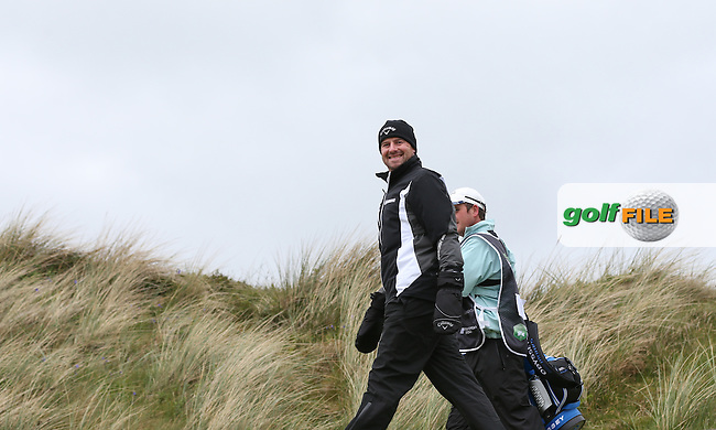 Craig Lee (SCO) enjoying the weather during Round One of the 2015 Dubai Duty Free Irish Open Hosted by The Rory Foundation at Royal County Down Golf Club, Newcastle County Down, Northern Ireland. 28/05/2015. Picture David Lloyd | www.golffile.ie