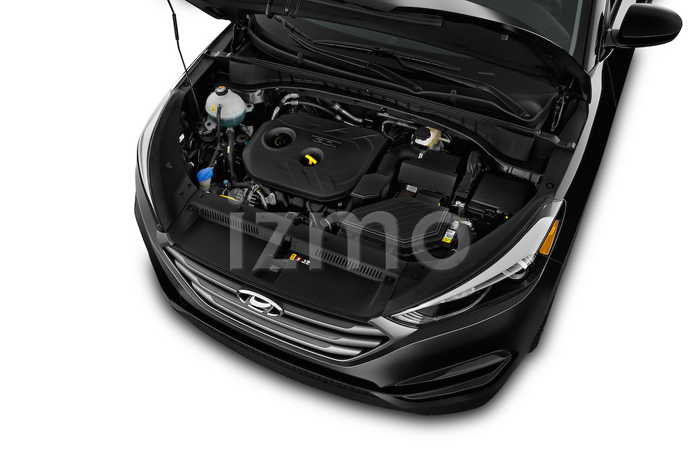 Car Stock 2016 Hyundai Tucson SE 5 Door Suv Engine  high angle detail view