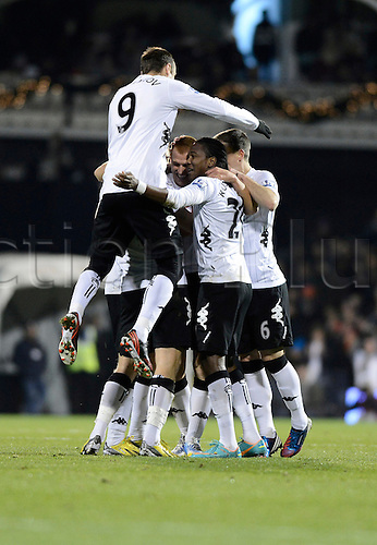 10.12.2012 London, England. Fulham celebrate their first goal scored by Sidwell during the Premier League game between Fulham and Newcastle United from Craven Cottage.