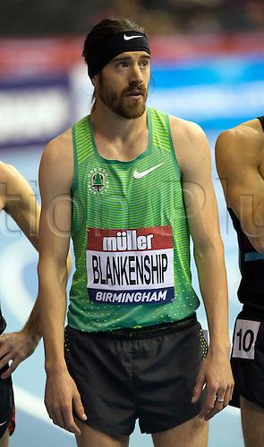 February 18th 2017,  Birmingham, Midlands, England; IAAF The Müller Indoor Grand Prix Athletics meeting; Ben Blankenship (USA) before the final of the Men's 1500 Metres