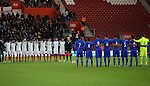 England's and Italy's players pay their respects for Rememberance Sunday during the Under 21 International Friendly match at the St Mary's Stadium, Southampton. Picture date November 10th, 2016 Pic David Klein/Sportimage