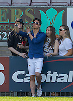 Jude Read of Music group Franklin Lake poses for selfies during the 'Greatest Show on Turf' Celebrity Event - Once in a Blue Moon Events at the London Borough of Barking and Dagenham Stadium, London, England on 8 May 2016. Photo by Andy Rowland.