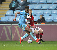 Fleetwood Town's Paddy Madden  in action with Coventry City's Morgan Williams <br /> <br /> Photographer Mick Walker/CameraSport<br /> <br /> The EFL Sky Bet League One - Coventry City v Fleetwood Town - Tuesday 12th March 2019 - Ricoh Arena - Coventry<br /> <br /> World Copyright © 2019 CameraSport. All rights reserved. 43 Linden Ave. Countesthorpe. Leicester. England. LE8 5PG - Tel: +44 (0) 116 277 4147 - admin@camerasport.com - www.camerasport.com