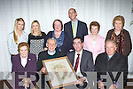 Tom Curran presents the Life time achievement award to Archdeacon Michael Murphy at the Killarney Looking Good awards ceremony in the Malton Hotel Killarney on Monday night front row l-r: Tess Murphy, Archdeacon Michael Murphy, Tom Curran, Bishop Bill Murphy. Back row: Eve Kelliher, Catriona O'Keeffe, Yvonne Quill, John Breen, Ann Corbett and Mary Daly..