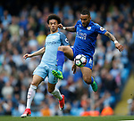 Leroy Sane of Manchester City in action with Danny Simpson of Leicester City during the English Premier League match at the Etihad Stadium, Manchester. Picture date: May 13th 2017. Pic credit should read: Simon Bellis/Sportimage