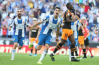 2nd November 2019; RCDE Stadium, Barcelona, Catalonia, Spain;La Liga Football, Real Club Deportiu Espanyol de Barcelona versus Club de Futbol Valencia;  Marc Roca celebrates after scoring his goal in the 31st minute from the penalty spot - Editorial Use