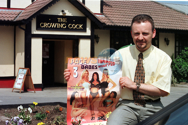 Derek Dolan night club Manager of the Crowing Cock in Kilsaran Co Louth with a poster of the page 3 girls that were ment to perform in his clun on June 25 but the permoter made off with the money instead..Byline Fran Caffrey / Newsfile.Story Page 3 Girls By John Moore and Valerie Hanley