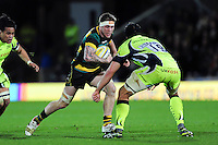Teimana Harrison of Northampton Saints takes on the Sale Sharks defence. Aviva Premiership match, between Northampton Saints and Sale Sharks on December 23, 2016 at Franklin's Gardens in Northampton, England. Photo by: Patrick Khachfe / JMP