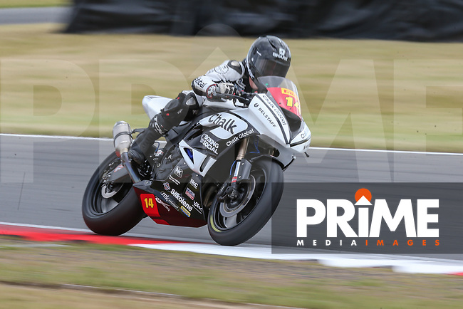 Tim Neave of the Neave Twins team (No. 14) competing in the Pirelli National Superstock 600 Championship during Saturday Qualifying at the 2017 MCE British Superbikes Championship Round 5 at Snetterton 300 at Snetterton Circuit, Norwich, England on 1 July 2017. Photo by David Horn.