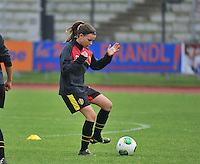 20131013 - BAMBERG , GERMANY :  Belgian Sari Hendrickx  pictured during the female soccer match between Switzerland Women U17 and Belgium U17 , in the second game of the Elite round in group 6 in the UEFA European Women's Under 17 competition 2013 in the Fuchs Park Stadion - Bamberg  Sunday 13 October 2013. PHOTO DAVID CATRY