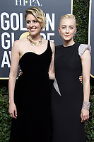 Nominated for BEST SCREENPLAY &ndash; MOTION PICTURE for &quot;Lady Bird,&quot; Greta Gerwig and Nominated for BEST PERFORMANCE BY AN ACTRESS IN A MOTION PICTURE &ndash; COMEDY OR MUSICAL for her role in &quot;Lady Bird,&quot; actress Saoirse Ronan arrive at the 75th Annual Golden Globe Awards at the Beverly Hilton in Beverly Hills, CA on Sunday, January 7, 2018.<br /> *Editorial Use Only*<br /> CAP/PLF/HFPA<br /> &copy;HFPA/PLF/Capital Pictures