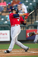 Oklahoma City Redhawks outfielder George Springer #4 shatters his bat during the Pacific Coast League baseball game against the Round Rock Express on April 3, 2014 at the Dell Diamond in Round Rock, Texas. The Redhawks defeated the Express 7-6 in the season opener for both teams. (Andrew Woolley/Four Seam Images)