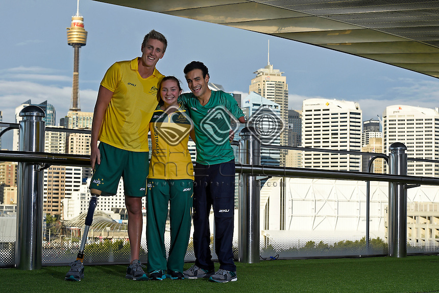 Sporting 2XU gear - Brenden Hall, Maddison Elliott and Ahmed Kelly / Para-swimming athletes<br /> 2016 APC RIO Uniform Launch with the city of Sydney as the backdrop shot from the Star Casino<br /> Australian Paralympic Committee<br /> Star Casino / Sydney / NSW<br /> Monday 6 June 2016<br /> &copy; Sport the library / Jeff Crow