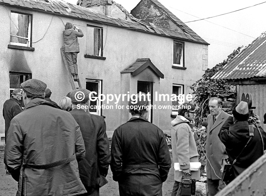 Assassination of Senator Billy Fox, 35 years, Protestant, Fine Gael politician, Co Monaghan, Rep of Ireland, 12th March 1974. He was previously a TD (Irish MP).  Fox was visiting the home near Clones of his fiancee which unknown to him had been taken over by thirteen armed paramilitaries. He ran from the scene but was followed and shot dead in a nearby field. Local VIP or politician interviewed by Irish television. Five members of the Provisional IRA were subsequently tried and convicted of the killing. 197403120163k. .Copyright Image from Victor Patterson, 54 Dorchester Park, Belfast, United Kingdom, UK...For my Terms and Conditions of Use go to http://www.victorpatterson.com/Victor_Patterson/Terms_%26_Conditions.html