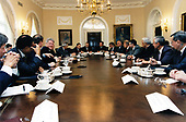 United States President Clinton and President Boris Yeltsin of the Russian Federation, along with their top advisors, met with<br /> American and Russian business executives in the Cabinet Room of the White House in Washington, DC to discuss American<br /> investment in Russia on September 28, 1994. Seated from left to right are: US Secretary of Commerce Ron Brown; US Vice President Al Gore; the President; US Secretary of State Warren Christopher; US Secretary of the Treasury Lloyd Bentsen; Jack Smith, President and CEO of General Motors; Jack Murphy, Chairman of Dresser Industries;<br /> and Richard McCormick, Chairman of US West Telecommunications. Russian businessmen sit to their left. Seated to the left of President Yeltsin is Russian Deputy prime Minister Soskovets, and to his right is Assisant to the President Ilyushin and Minister of Foreign and Economic Trade Davidov.<br /> Credit:  White House via CNP