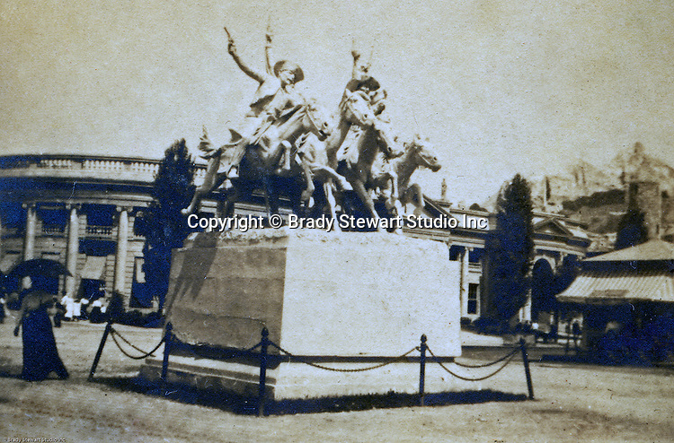 "St Louis MO:  A view of the Remington statue of ""Cowboys off the trail""."
