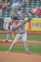 New Orleans Baby Cakes starting pitcher Nick Neidert (32) delivers a pitch to the plate against the Salt Lake Bees at Smith's Ballpark on August 4, 2019 in Salt Lake City, Utah. The Baby Cakes defeated the Bees 8-2. (Stephen Smith/Four Seam Images)