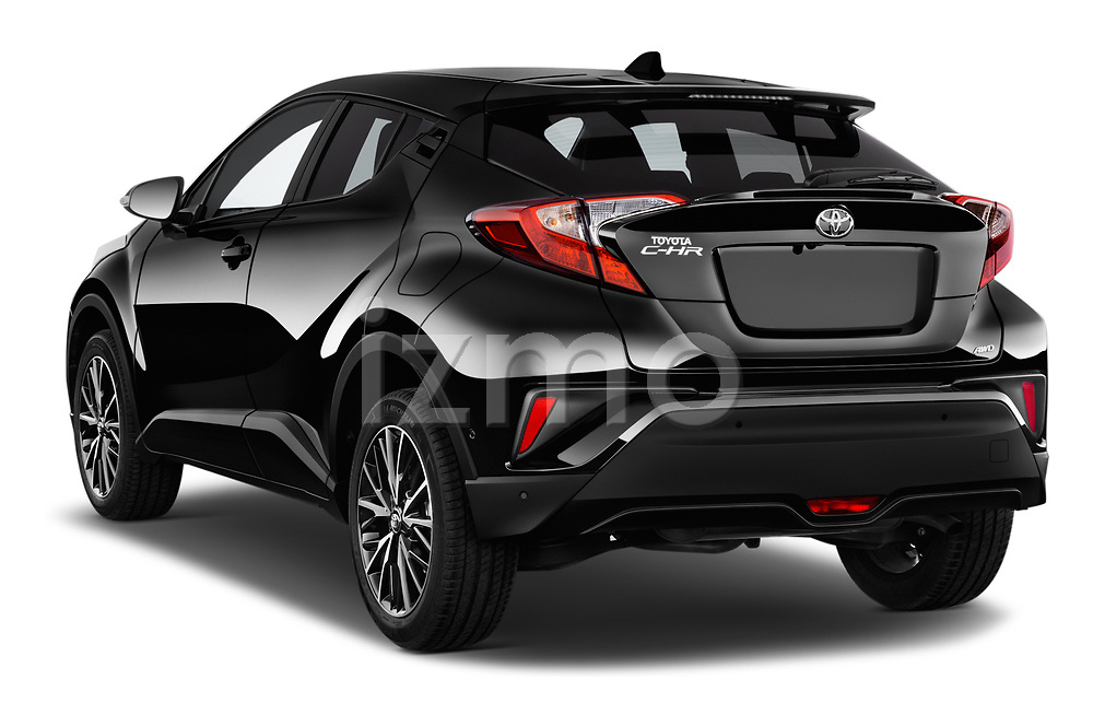 Car pictures of rear three quarter view of 2017 Toyota C-HR C-Show 5 Door SUV Angular Rear