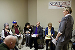 Volunteers joke during a caucus training class at the Gingrich campaign headquarters in Reno, Nev., January 31, 2012.