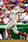 15 August 2010: Arizona Diamondbacks center fielder Chris Young in action against the Washington Nationals at Nationals Park in Washington, DC. The Nationals defeated the Diamondbacks 5-3 to take the rubber match of their 3-game series. Mandatory Credit: Ed Wolfstein Photo