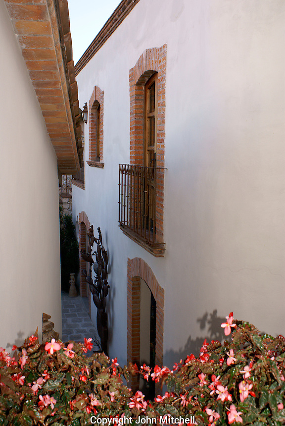 Passageway in the Posada de las Minas, a luxury boutique hotel in Mineral de Pozos, Guanajuato, Mexico