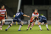 29th September 2017, AJ Bell Stadium, Salford, England; Aviva Premiership Rugby, Sale Sharks versus Gloucester; Gloucester Rugby's Ruan Ackermann is tackled by Sale Sharks' Rob Webber