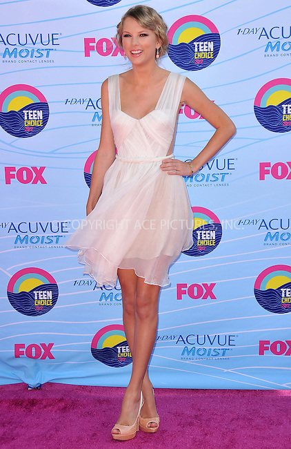 WWW.ACEPIXS.COM . . . . .  ..... . . . . US SALES ONLY . . . . .....July 22 2012, LA....Taylor Swift at the 2012 Teen Choice Awards on July 22 2012 in Los Angeles ....Please byline: FAMOUS-ACE PICTURES... . . . .  ....Ace Pictures, Inc:  ..Tel: (212) 243-8787..e-mail: info@acepixs.com..web: http://www.acepixs.com