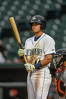 Shortstop Edgardo Fermin (10) of the Columbia Fireflies bats in a game against the Augusta GreenJackets on Saturday, April 7, 2018, at Spirit Communications Park in Columbia, South Carolina. Augusta won, 6-2. (Tom Priddy/Four Seam Images)