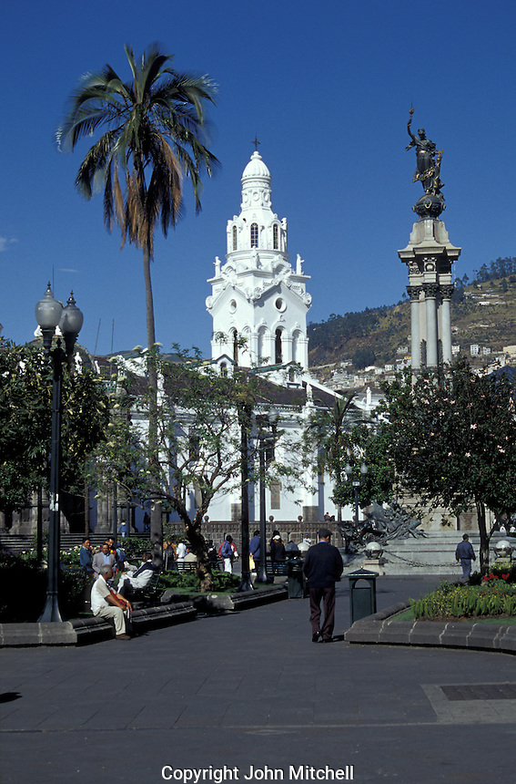 The Plaza de la Independencia or Plaza Grande in old Quito, Ecuador. Old Quito was made a UNESCO World Heritage Site in 1978.