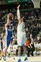 Real Madrid´s Ioannis Bourousis and Anadolu Efes´s Matt Janning during 2014-15 Euroleague Basketball match between Real Madrid and Anadolu Efes at Palacio de los Deportes stadium in Madrid, Spain. December 18, 2014. (ALTERPHOTOS/Luis Fernandez) /NortePhoto /NortePhoto.com