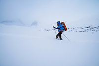 Female nordic ski tourer in deep snow near Kebnekaise Fjällstation, Lapland, Sweden