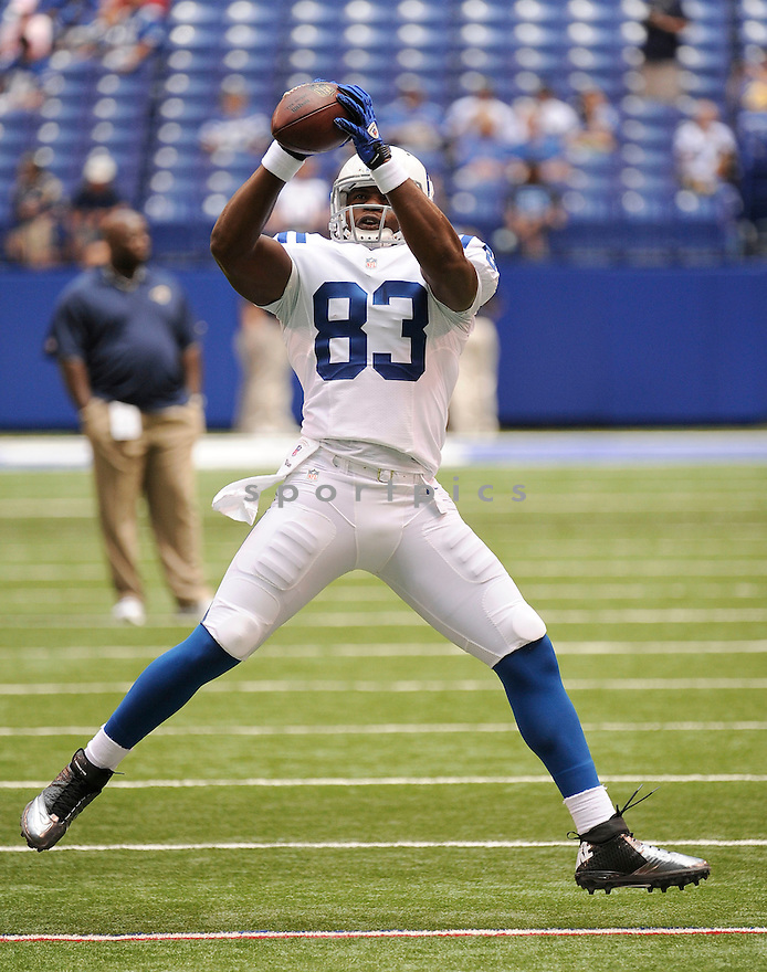 DWAYNE ALLEN (83),  of the Indianapolis Colts in action during the Colts preseason game against the St. Louis Rams on August 12, 2012 at Lucas Oil Stadium in Indianapolis, IN. The Colts beat the Rams 38-3.