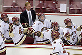 Brian Dumoulin (BC - 2), Edwin Shea (BC - 8), Greg Brown (BC - Assistant Coach), Philip Samuelsson (BC - 5), Barry Almeida (BC - 9), Ben Smith (BC - 12) - Steven Whitney (BC - 21) - The Boston College Eagles defeated the St. Francis Xavier University X-Men 4-1 in their exhibition match on Sunday, October 4, 2009, at Conte Forum in Chestnut Hill, Massachusetts.